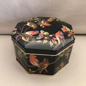 Vintage Black Bird Tin Container